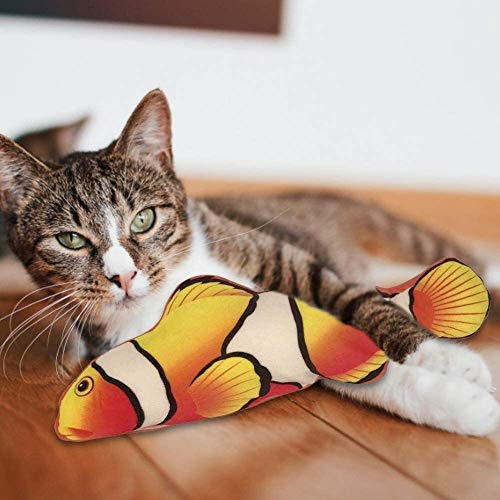 Moving Cat Kicker Fish Toy, Realistic Flopping Fish Electric Wiggle Fish Catnip Toy, Plush Interactive Simulation Fish Doll, Funny Interactive Pet Pillow for Chew Bite Kick cat kicker fish toy XINRUIB