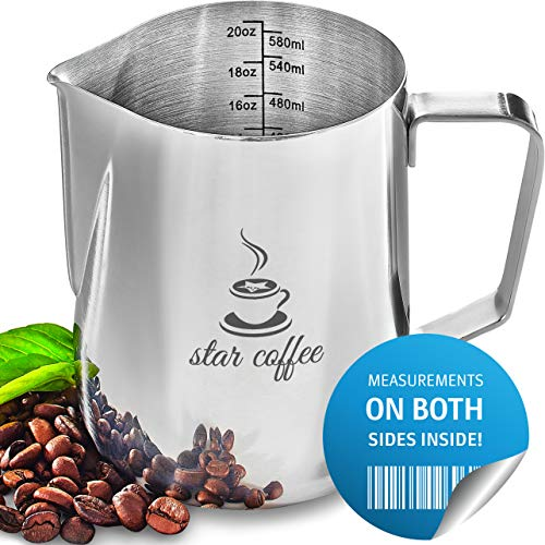 Milk Frothing Pitcher 20oz - Star Coffee Steaming Pitchers 12 20 30oz - Measurements on Both Sides Inside Plus eBook - Perfect for Espresso Machines, Milk Frothers, Latte Art - Stainless Steel Jug