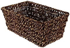 Made from dried seagrass wrapped around a wire frame. Measures 10-inch length by 6-1/8-inch width by 4-3/8-inch height Ideal for holding guest towels and fits folded guest towels that measure 4-1/2 inches wide by 8-1/2 inches long Imported