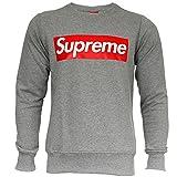 Supreme Italia - Sudadera para Hombre, diseño con Logotipo Grande, Color Negro, Blanco, Rojo y Gris Gris y Rojo. XL