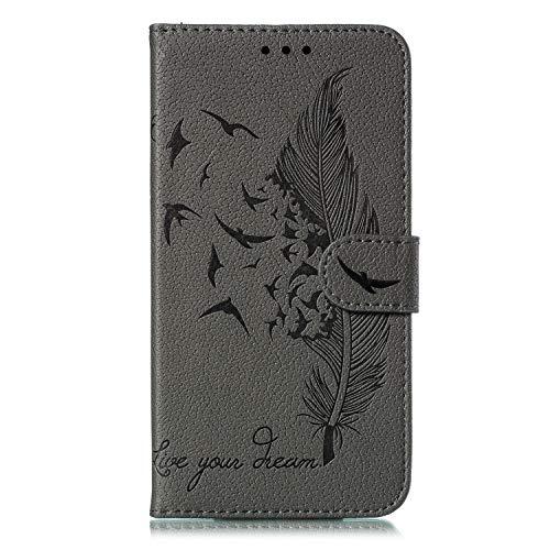 Tosim Nokia 5.3 Hülle Klappbar Leder, Brieftasche Handyhülle Klapphülle mit Kartenhalter Stossfest Lederhülle für Nokia 5.3 - TOEBE010807 Grau