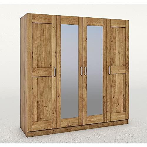 Elfo Armadio moderno Toni 4 TRG in legno di rovere massiccio con specchio