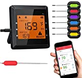 Meat Thermometer for Grilling, Bluetooth Meat Thermometer for Cooking with 6 Probes and Super Large LCD Screen Wireless Cooking Thermometer for Grilling Oven BBQ Smoker Candy Kitchen
