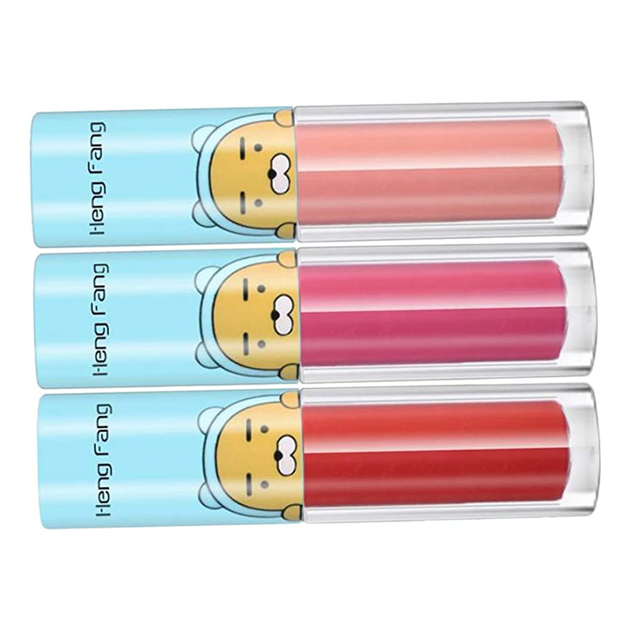 道路を作るプロセス十一致する3色/セット女性防水ロングラスティングリップグロス鮮やかなカラフルなリップグロス口紅美容リップ化粧品、12色用選択 - B