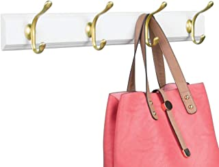 mDesign Decorative Wood Wall Mount Storage Organizer Rack for Coats, Hoodies, Hats, Scarves, Purses, Leashes, Bath Towels, Robes, Men and Women's Clothing - 8 Metal Hanging Hooks - White/Gold Brass