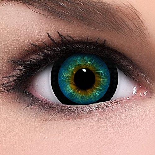 Circle Lenses blaue Candy Blue ohne Stärke + Behälter I 15mm I weich I 3 Monate anwendbar