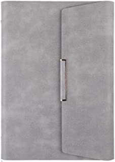 $41 » Loose-Leaf Notebook, Detachable, Business Notebook, Office Leather Meeting Minutes, Thick 170X235Mm (2 Pieces) Gray