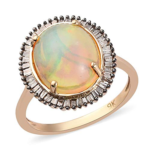 TJC Opal Halo Ring for Womens in 9ct Yellow Gold Anniversary/Wedding/Proposal Gemstone Jewellery Size R with Champagne Diamond October Birthstone, TCW 3.36ct