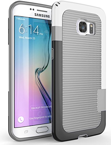Galaxy S6 Edge case, Zectoo Ultra Slim 3 Color Hybrid Impact Anti-Slip Shockproof Soft TPU Hard PC Bumper Extra Front Raised Lip Case Cover for Samsung Galaxy S6 Edge S VI Edge G925 - Light Gray