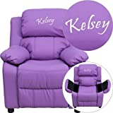 Flash Furniture Personalized Deluxe Heavily Padded Lavender Vinyl Kids Recliner with Storage Arms
