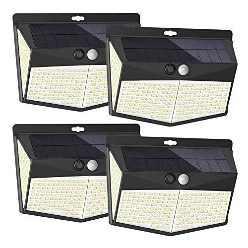 【288LED】EANKI センサーライト ソーラーライト 4面発光 太陽光発電 人感センサー 3つ点灯モード 防水 防犯ライト 両面テープ付き 自動点灯 屋外照明 ガーデンライト 屋外ウォールライト 壁掛け/庭先/表玄関/駐車場などで活躍 4個セット
