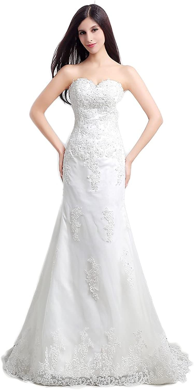 Ikerenwedding Women's Sweetheart Lace Applique Sweep Train Mermaid Bridal Gown