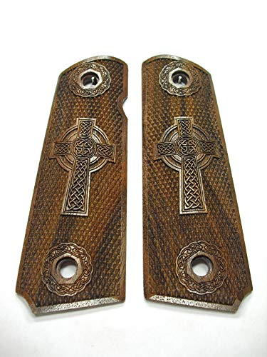 Walnut Celtic Cross Full Size 1911 Grips Checkered Engraved Texture #2