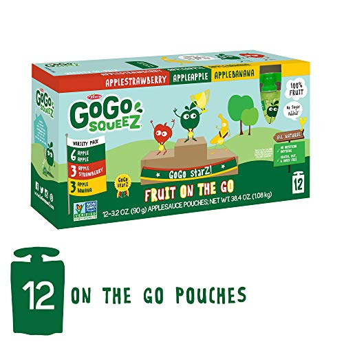 GoGo squeeZ Applesauce on the Go, Variety Pack (Apple/Banana/Strawberry), 3.2 Ounce (12 Pouches), Gluten Free, Vegan Friendly, Healthy Snacks, Unsweetened Applesauce, Recloseable, BPA Free Pouches