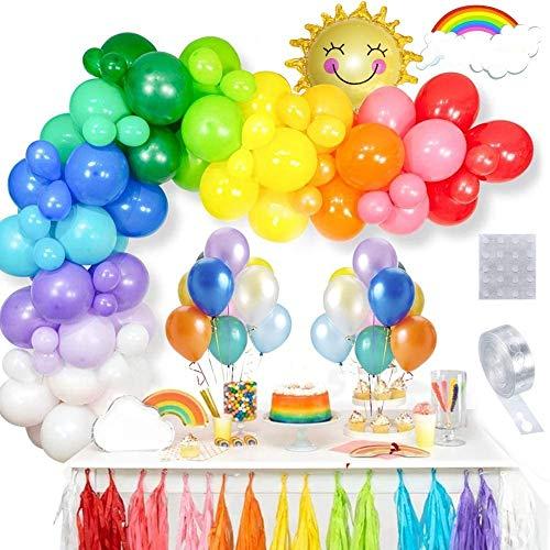 ThinBal Juego de guirnaldas de arco iris para decoración de fiestas,100 globos...