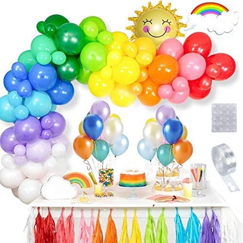 ThinBal Balloon Arch Garland Kit, Rainbow Party Decorations 100 PCS Latex Rainbow Balloons in Blue Pink Yellow Red White with Foil Helium Balloon for Birthday Wedding Party Supplies