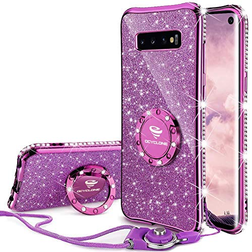 OCYCLONE Galaxy S10 Case, Glitter Luxury Cute Phone Case for Women Girls with Kickstand, Bling Diamond Rhinestone Bumper with Ring Stand Compatible with Galaxy S10 Case for Girl Women - Purple