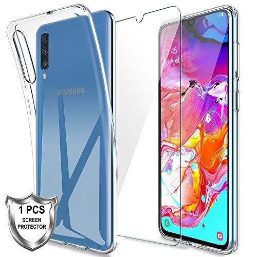 MP-MALL Cover Compatibile con Samsung Galaxy A70 Custodia, 1 Pellicola Protettiva in Vetro Temperato, Morbida in Silicone Flessibile Cristallo Limpido Trasparente Slim Protezione Case
