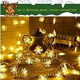 Schneeflocke Lichterketten, 6M 40Pcs LED Batteriebetriebene Lichterketten, Shining Decoration Lightning für Valentinstag Weihnachten Hochzeit Geburtstag Party Schlafzimmer Indoor&Outdoor (Warm White) - 7