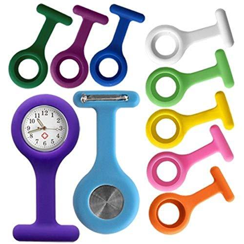 Kaxofang Free Battery Reloj Broche para Enfermera Funda Silicona 10X Colores Watch Moda