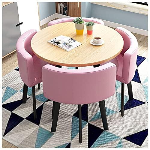 xBw8 Juego De Mesa De Comedor - Juego De Mesa Y Silla De Ocio Negociación De Recepción De Oficina, Juego De Mesa Y Silla Simple Diseño Moderno para Espacios Pequeños Cocina Hotel,Leather Pink