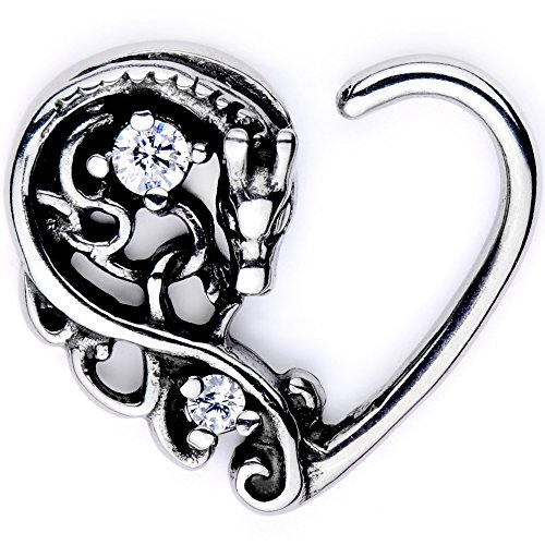 Body Candy Body Piercing Jewelry Stainless Steel 16G Right Closure Daith Cartilage Dragon Heart Tragus Earring