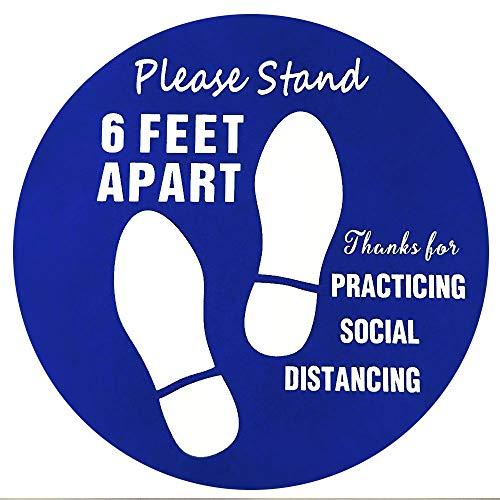 12' Social Distance Floor Stickers,6ft Social Distance Floor Signs,Floor Decals,Please Stand Here Sticker,Pack of 10