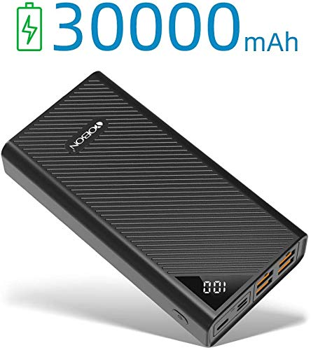 30000mAh Power Bank Portable Phone Charger High Capacity External Backup Battery Pack 4 USB Ports Quick Charge LCD Display 3 Input Powerpack for iPhone Samsung iPad Huawei Nintendo Switch (Black-)