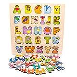 Nuheby Puzzle Bambini Alfabeto Giocattoli Legno 3 4 Anni, Gioco Incastri in Legno Lettere ...
