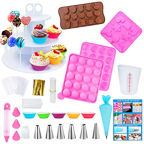 Cake Pop Maker Kit with 3 Silicone Mold Sets - 3 Tier Display Stand, Piping Tips and Coupler, Measuring Cup, Muffin Cupcakes, Decorating Pen, Lollipop Sticks, Candy Bags and Twist Ties