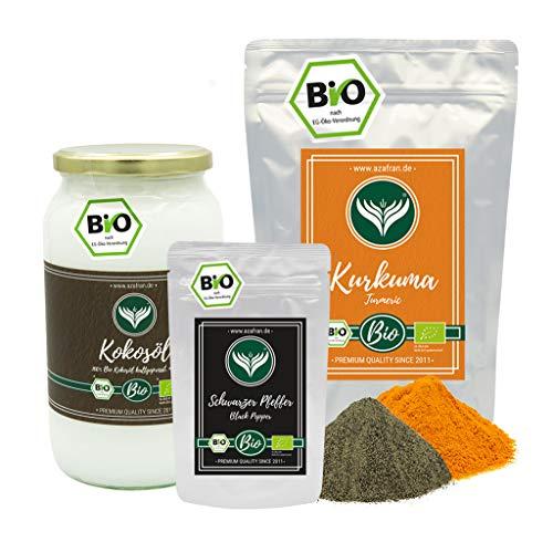 Azafran BIO Kurkuma (Turmeric) Paste Set mit Kokosöl (1L), Kurkuma (1kg) u. Pfeffer (50g)