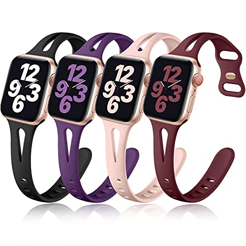 Getino Compatible with Apple Watch Band 40mm 38mm 41mm iWatch SE & Series 7 6 5 4 3 2 1 for Women Men, Stylish Durable Soft Silicone Slim Sport Watch Bands, 4 Pack, Black, Purple, Pink Sand, Wine Red
