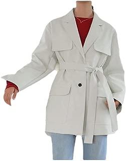 Howely Women Wrap Coat Boyfriend Belted Blazer Loose Pocket Leather Jacket