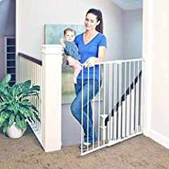 NEW NAME - SAME GREAT BRAND YOU TRUST: Worry-free safety! The Tall Easy Swing & Lock Baby Gate is built from long lasting, kid-tough heavy-duty metal with vertical bars that are difficult to climb, keeping your child safe and secure. Safe for babies ...