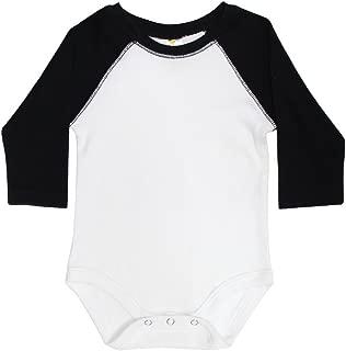 Laughing Giraffe Baby Long Sleeve Raglan Baseball Onesie Bodysuit (White/Black, 3-6M)