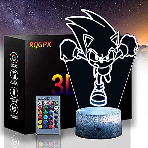 LED 3D luz de la noche, lámpara de ilusión óptica Sonic el erizo A 16 colores cambio automático interruptor táctil decoración escritorio