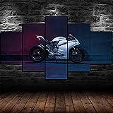 Yywife Leinwanddrucke Kreatives Geschenk 5 Stück Leinwand Bilder Hd Drucke Poster Abstrakt Gerahmter Moderne Wandbilder XXL Wohnzimmer Wohnkultur Ducati Panigale 1199S Roadster