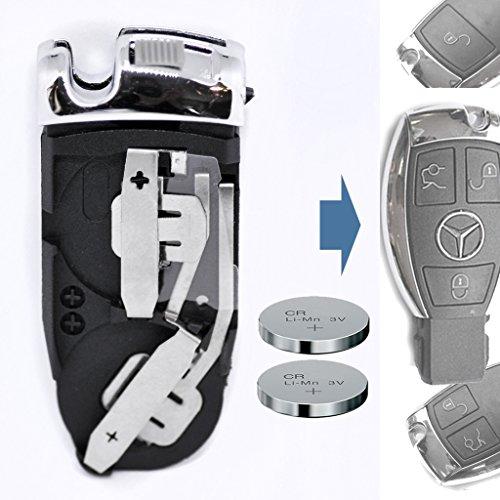 Auto Schlüssel Funk Fernbedienung 1x Batteriehalter + 2X CR2025 Batterie für Mercedes Benz
