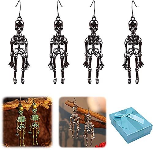 2 pares de pendientes de calavera estilo punk retro, diseño de huesos huesos humanos con diseño de gota colgante, pendientes de calavera gótica de Halloween, Piedra,