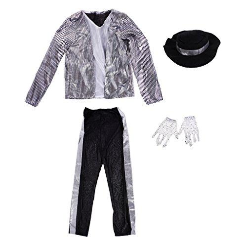 LOVIVER Fashion Cool Boys Kids Michael Jackson Suit Performance Fancy Dress Outfits - L