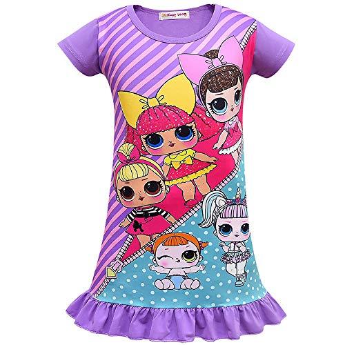 Preisvergleich Produktbild ShiJinShi Mädchen A-Linie Schlafanzug Gr. 110 cm(4-5 Jahre),  violett