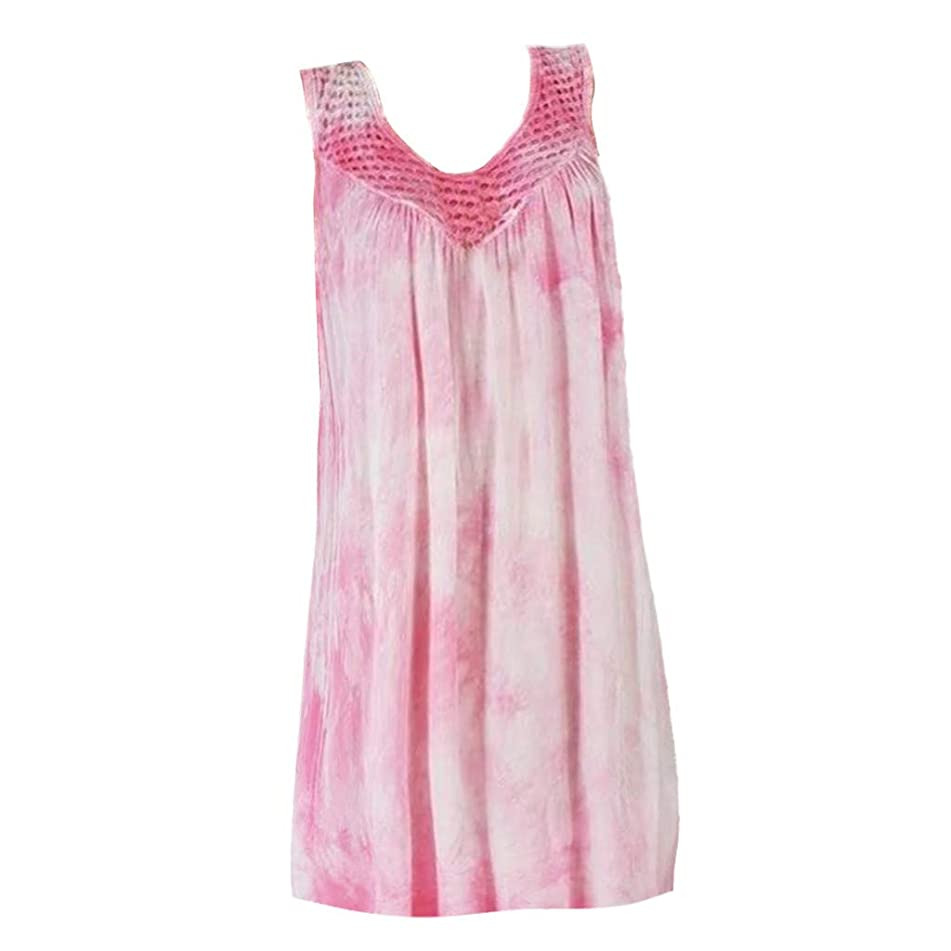 Kaniem Women's Plus Size Blouses Sexy Scoop Neck Tie Dyed Print Sleeveless Tops Loose T Shirts