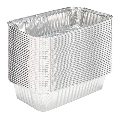 Aluminum Pans 4.4x6.9 Disposable Foil Pans (30 Pack) - Half Size Table Deep Pans - Tin Foil Pans Great for Cooking, Heating, Storing, Prepping Food (30, 1LB)