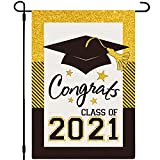 Whaline Class of 2021 Garden Flag Black Gold Congrats Grad House Flag Double-Sided Grad Cap Yard Flag for Indoor Outdoor Home Lawn Patio Porch Decoration, 12.5 x 18 Inch