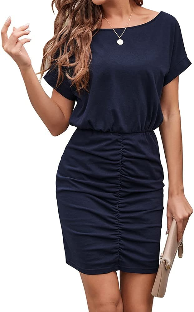 Women's Short Sleeve Wear to Work Dresses Belted Pencil Ruched Bodycon Midi Dress (Color : Blue, Size : Medium)