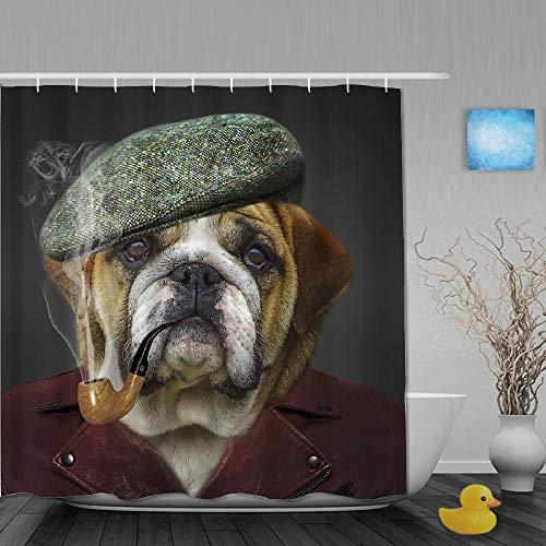 AYISTELU Duschvorhang,H&eliebhaber Hipster Tier Bordeaux Bulldogge Nettes Welpenkleid als Gentleman,Stoff Badezimmer Dekor Set mit Kunststoffhaken, enthalten - 180x210cm
