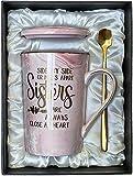 Tazza da caffè in ceramica in marmo per sorella, fratello, sorella, amici, regalo divertente per San Valentino, compleanno, Natale, sorella, cognata, 396,9 g (rosa-sorella)