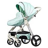 Not a brand Costador de bebé de diseño de Huevo, reclinable Plegable recién Nacido Amortiguador Carrito de Cuatro Ruedas, niño Medio cáscara de Huevo Carro de bebé (Color : Green)