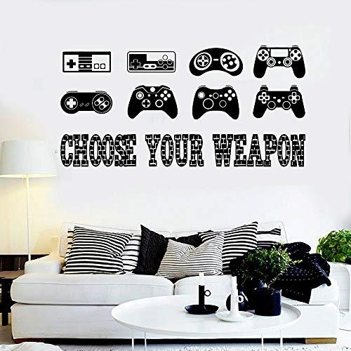 Blrpbc Pegatinas de Pared Adhesivos Pared Controlador de Juegos Vinilo Gaming Cita Joysticks Videojuego para Sala de Juegos Diseño de decoración Papel Tapiz 170x84cm
