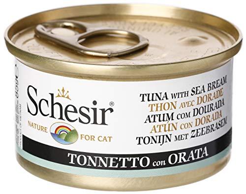 SCHESIR Atún con Dorada, Comida Húmeda para Gato, 85 gr.